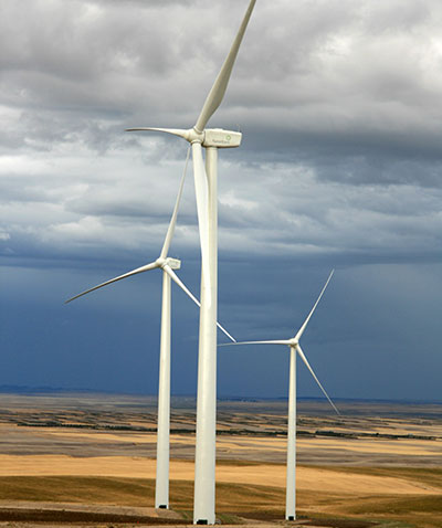 photo of a utility-scale wind turbine