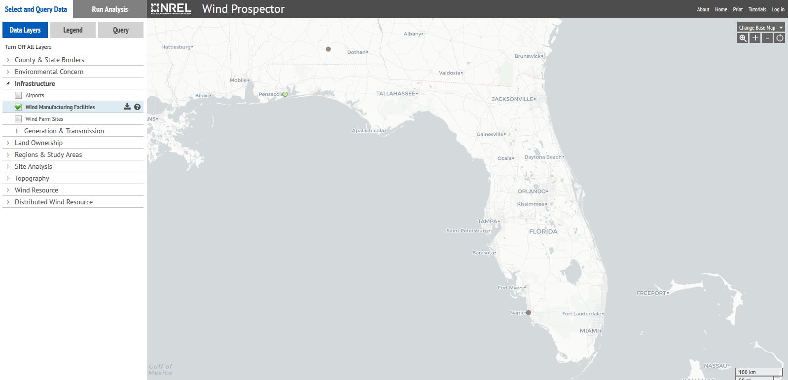 map of wind turbines in Florida