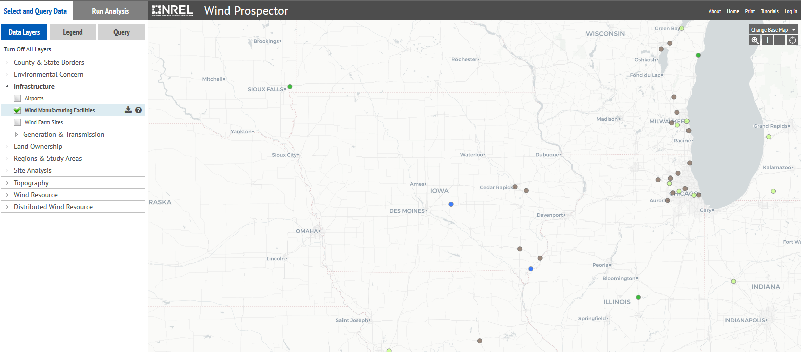 map of wind turbines in Iowa