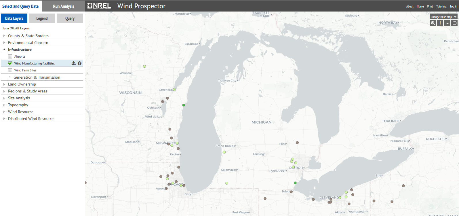map of wind turbines in Michigan