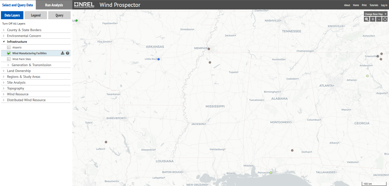 map of wind turbines in Mississippi