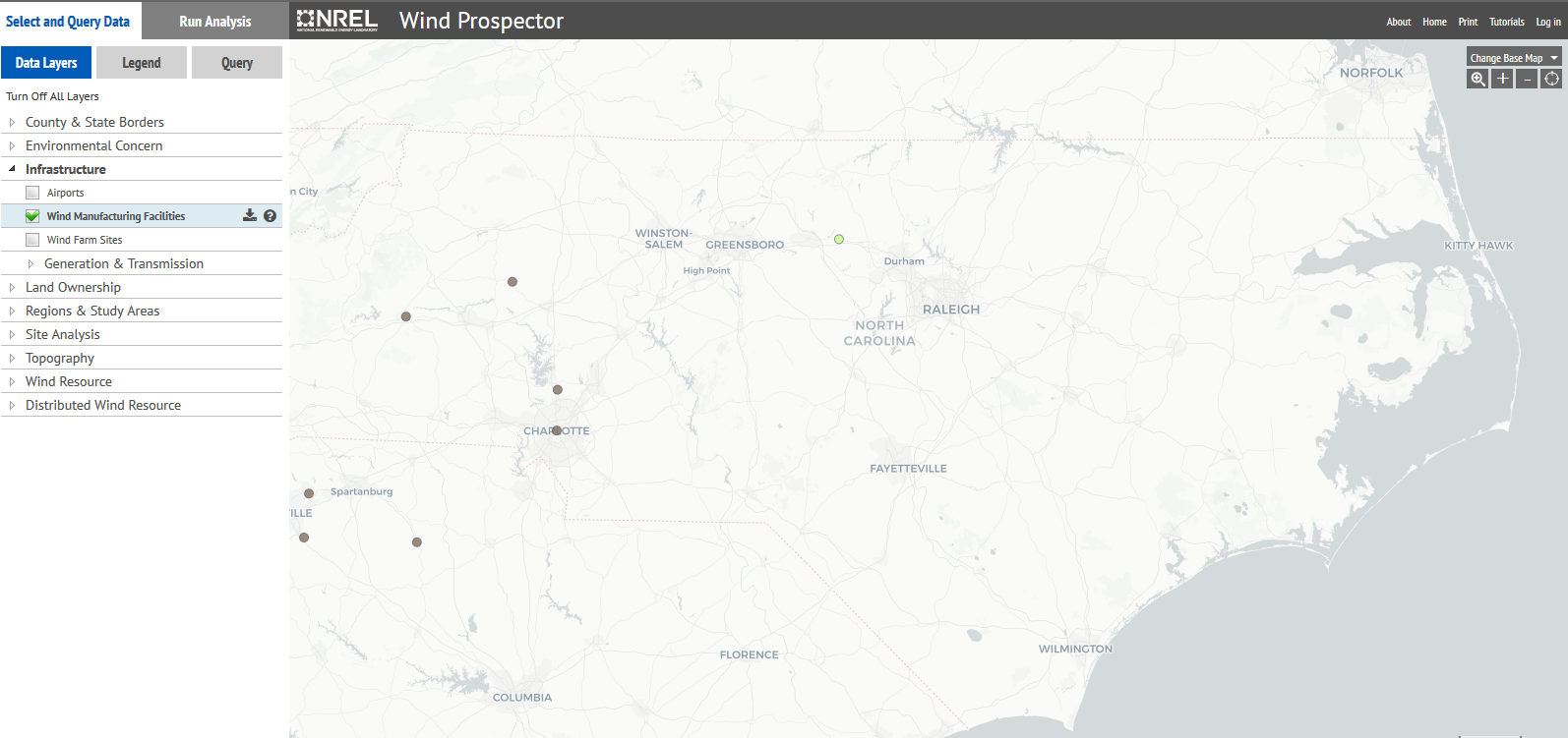 map of wind turbines in North Carolina