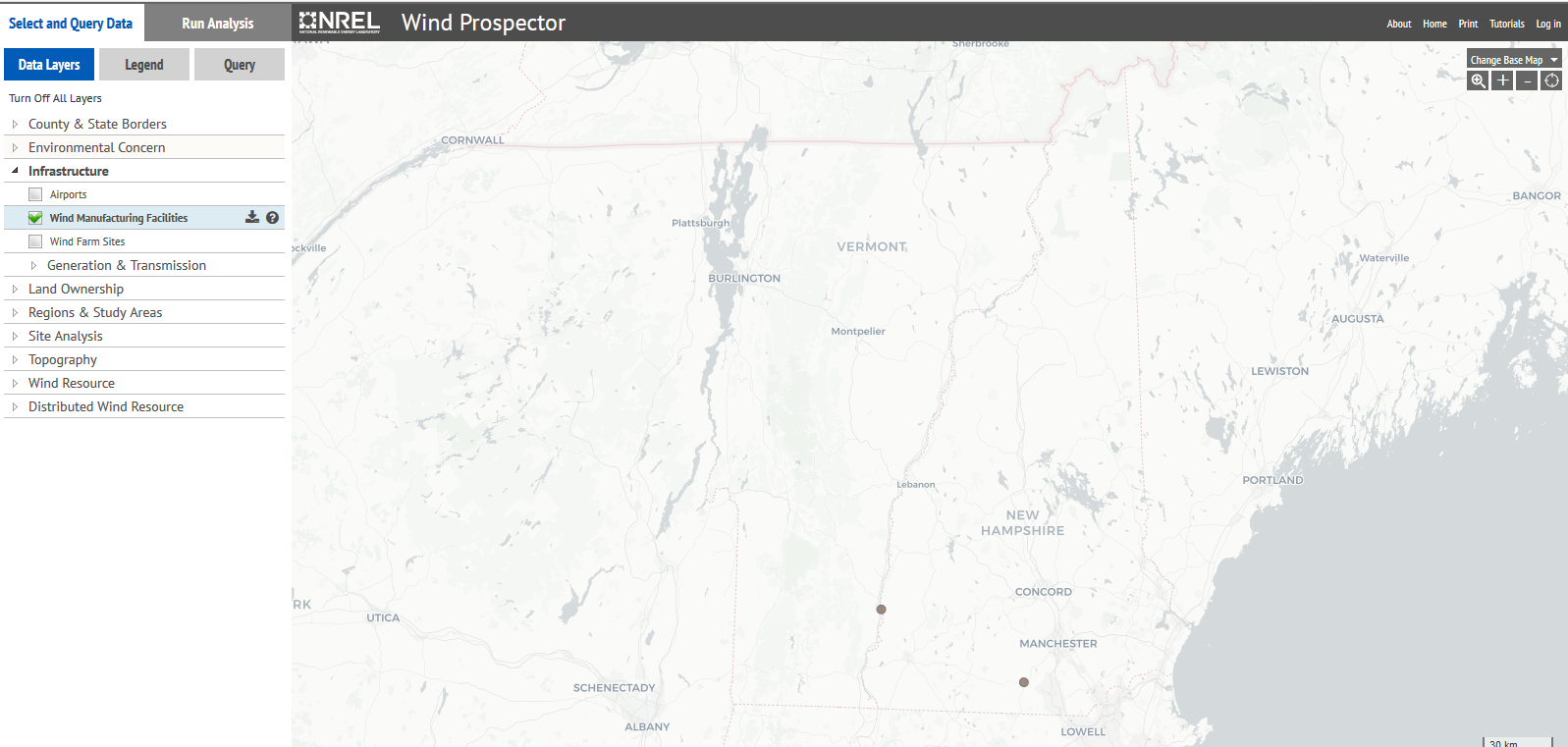 map of wind turbines in New Hampshire