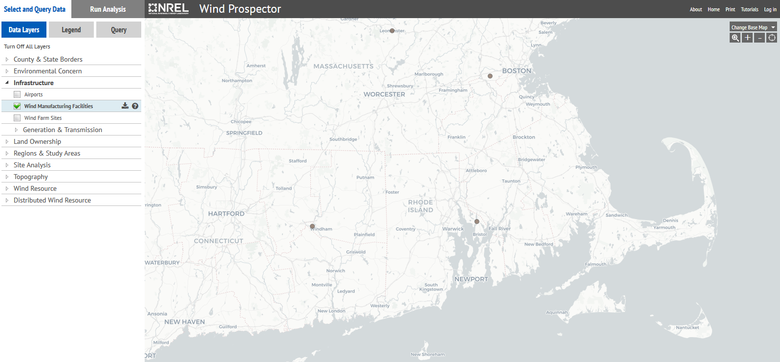 map of wind turbines in Rhode Island