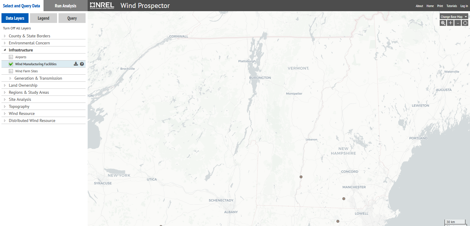 map of wind turbines in Vermont