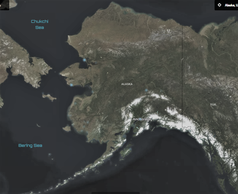 map of wind turbines in Alaska
