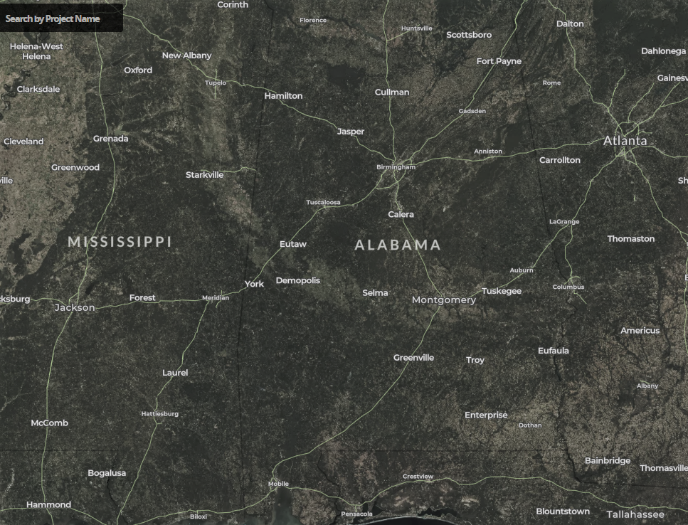 map of wind turbines in Alabama