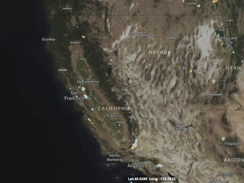 map of wind turbines in California