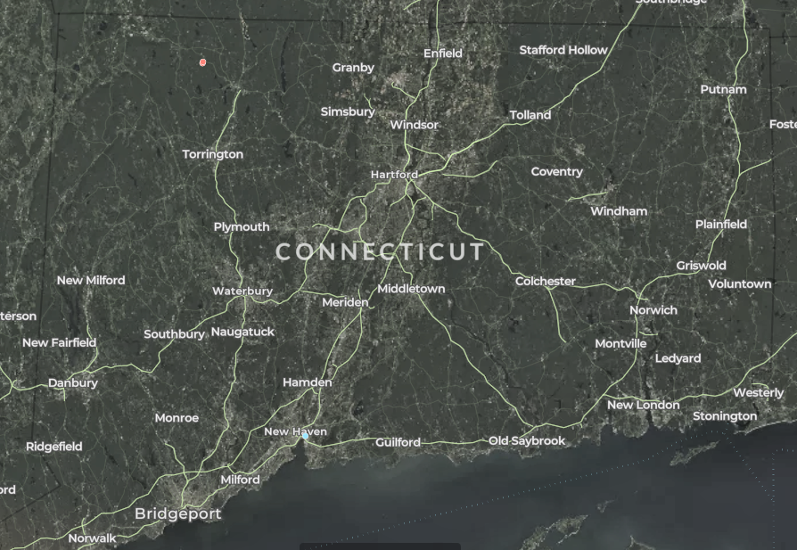 map of wind turbines in Connecticut