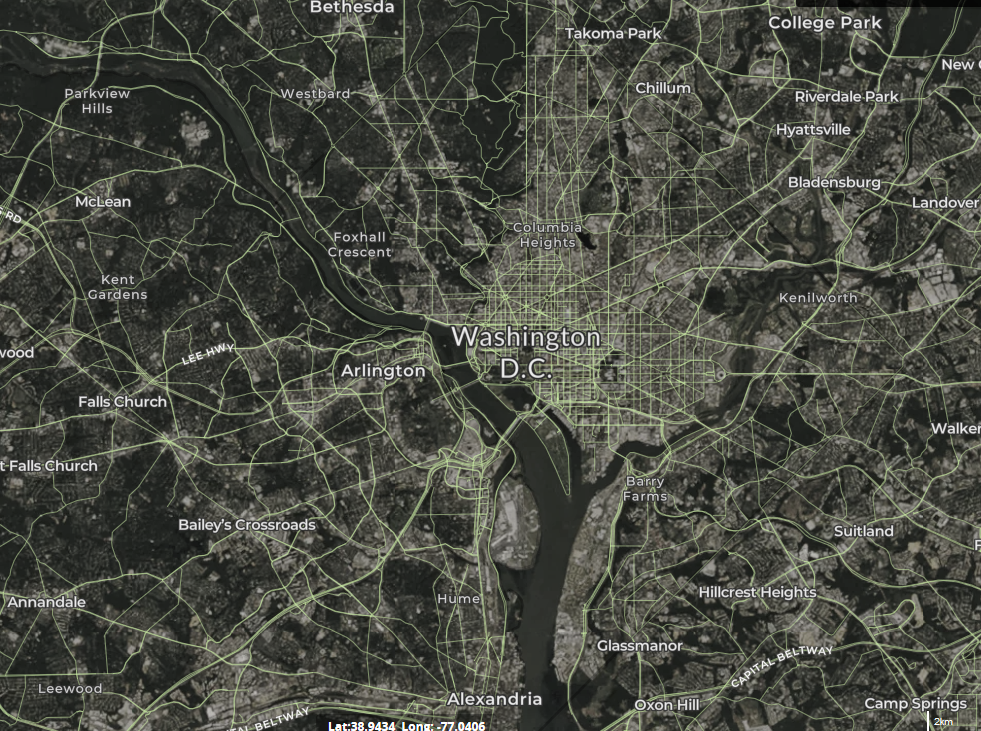 map of wind turbines in District of Columbia