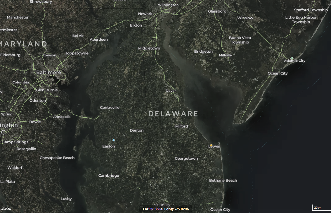 map of wind turbines in Delaware