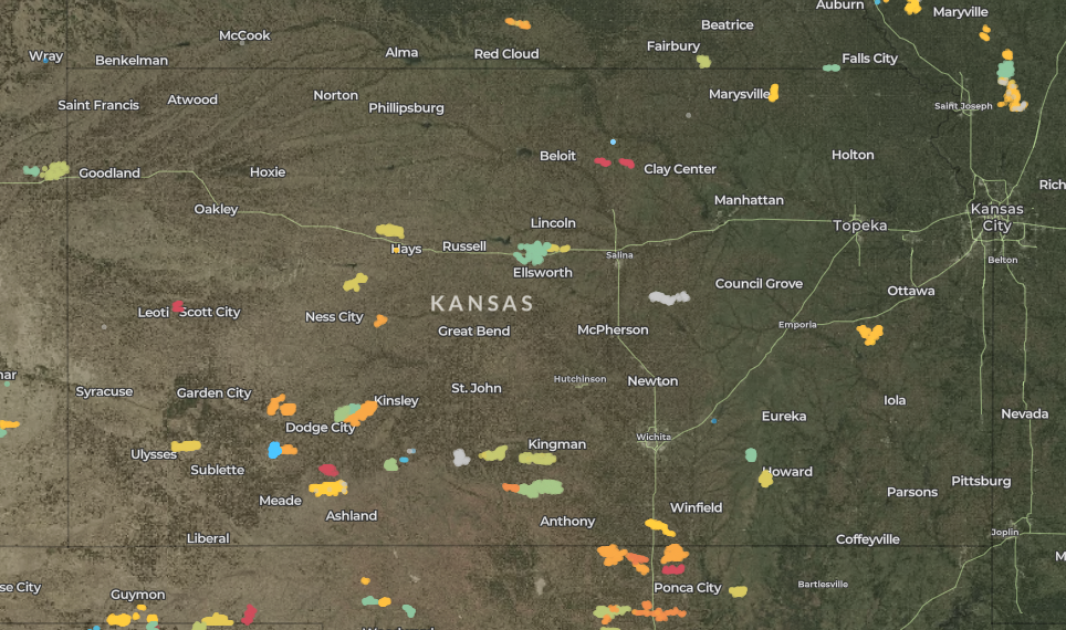 map of wind turbines in Kansas
