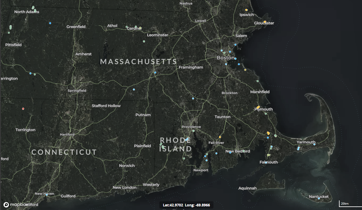 map of wind turbines in Massachusetts