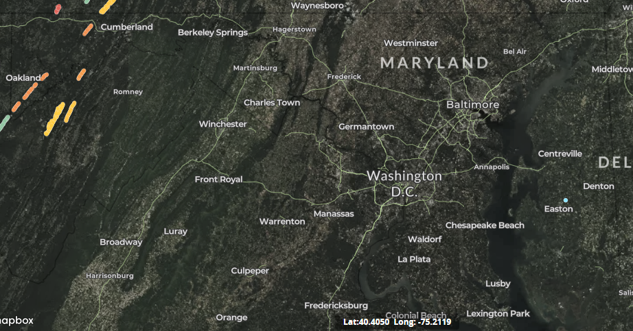 map of wind turbines in Maryland