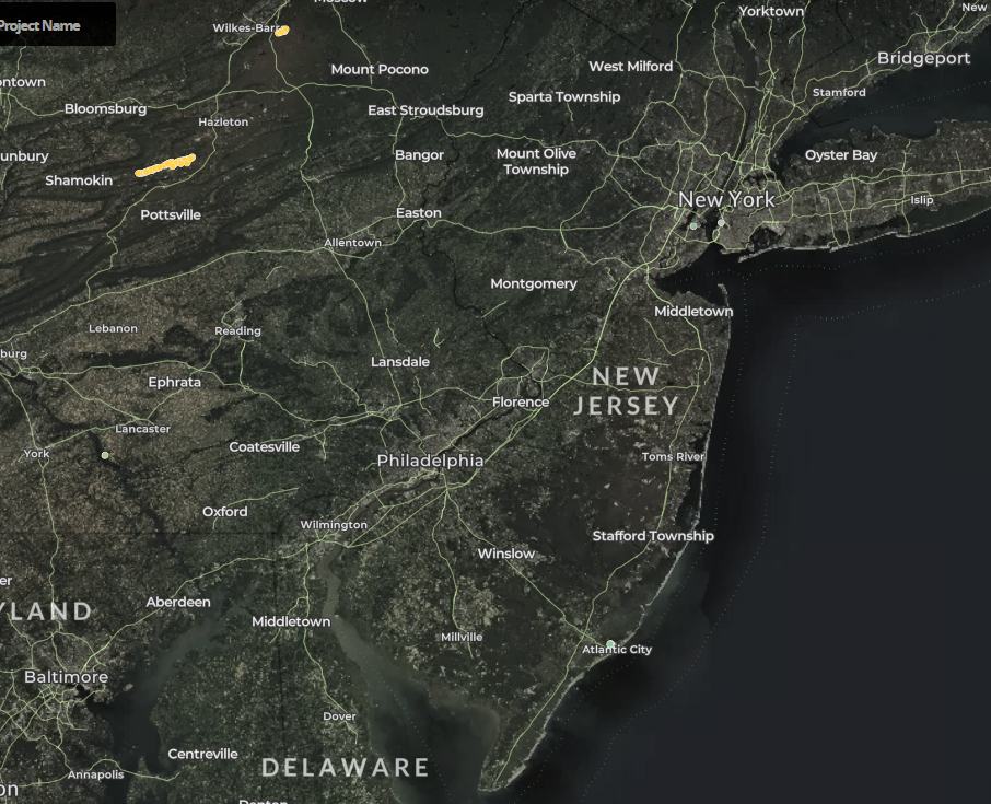 map of wind turbines in New Jersey