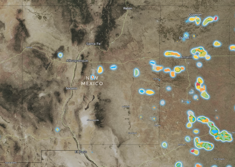 map of wind turbines in New Mexico