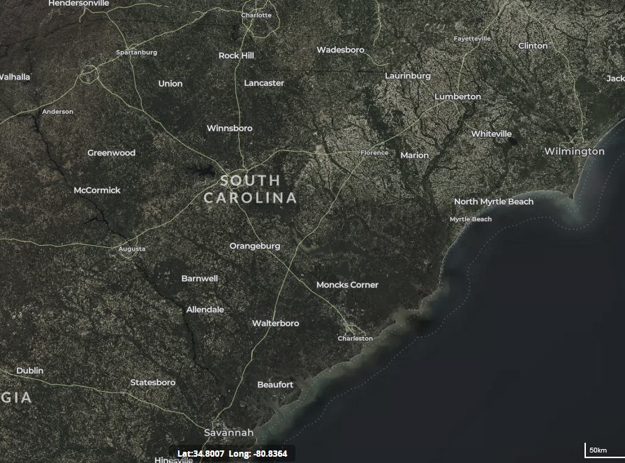 map of wind turbines in South Carolina