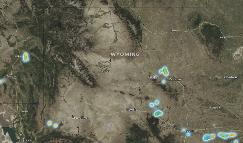 map of wind turbines in Wyoming
