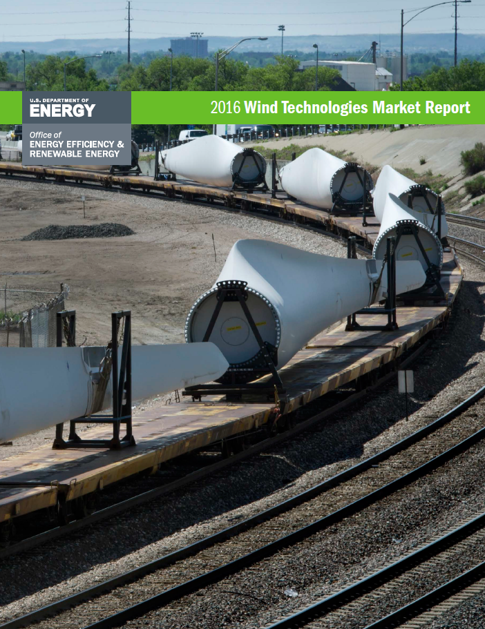 The cover of the 2016 Wind Technologies Market Report.