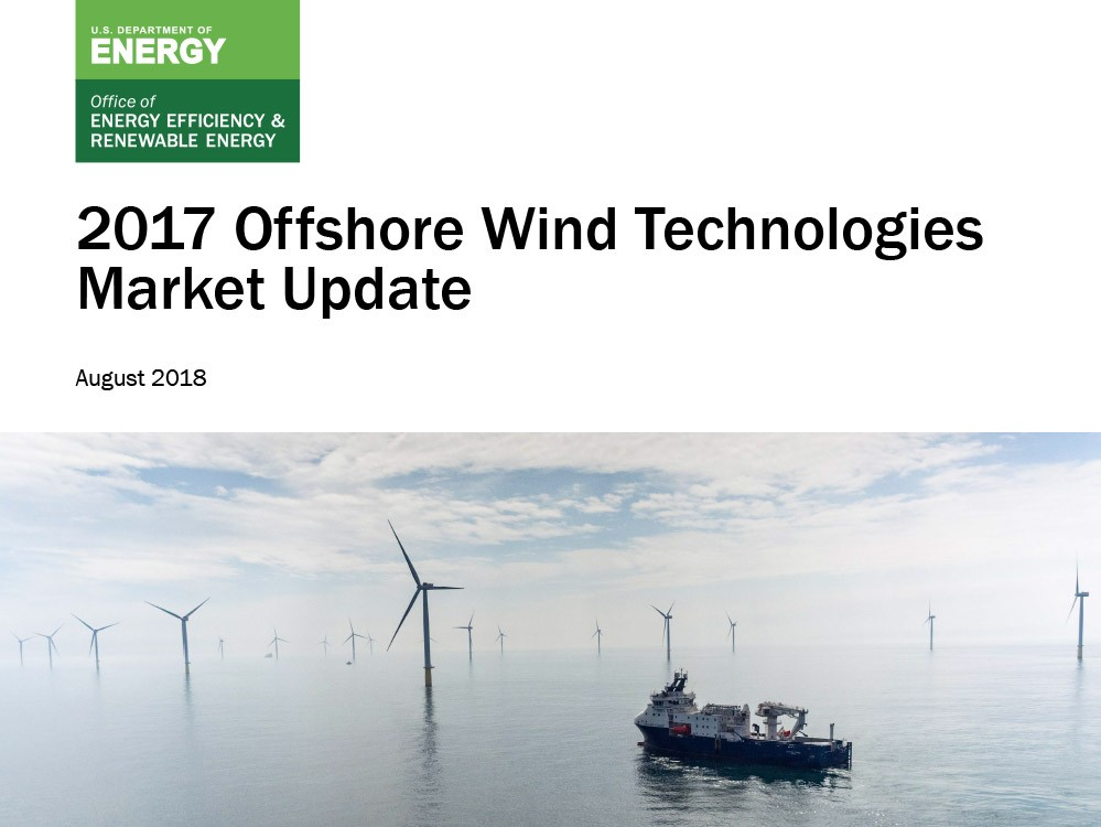 The 2017 Offshore Wind Market Update cover shows a boat and 15 offshore wind turbines in the North Sea.