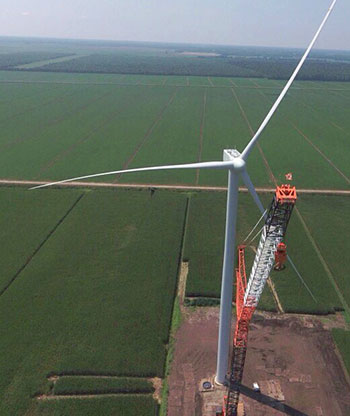 Aerial view of a turbine.
