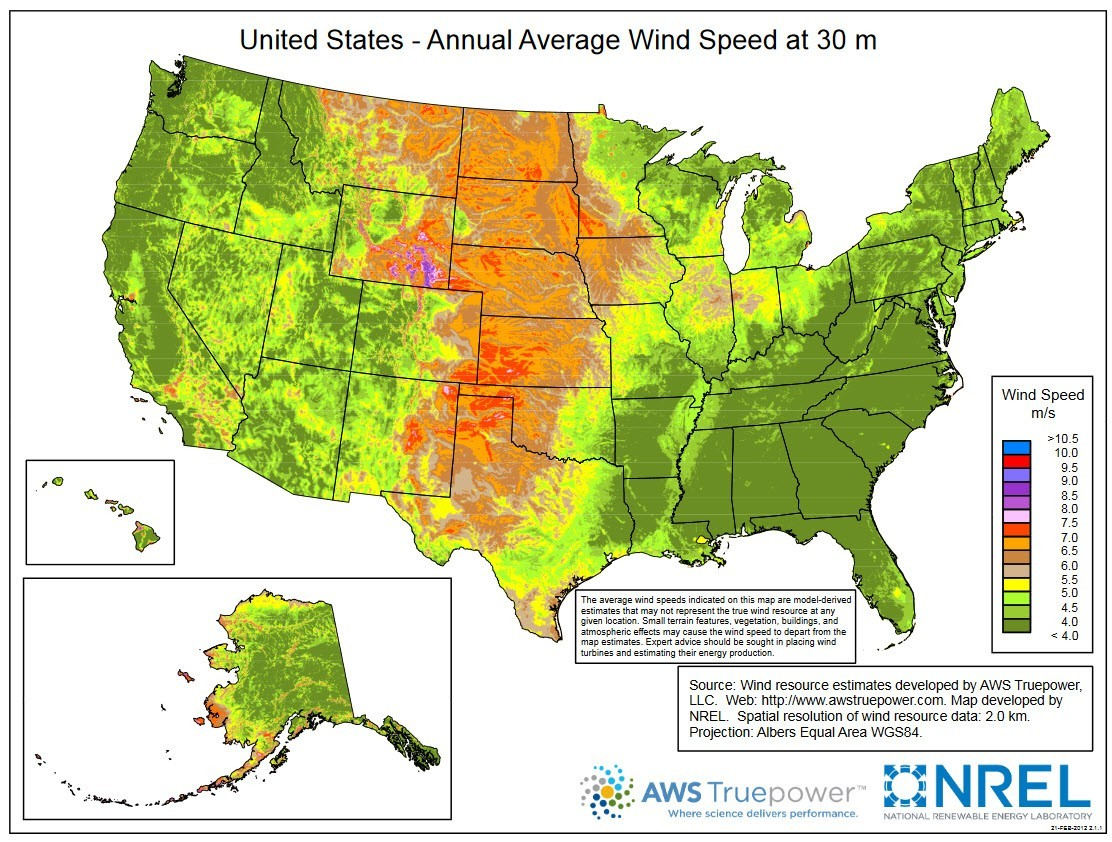 Average Wind Speed Map WINDExchange: U.S. Average Annual Wind Speed at 30 Meters