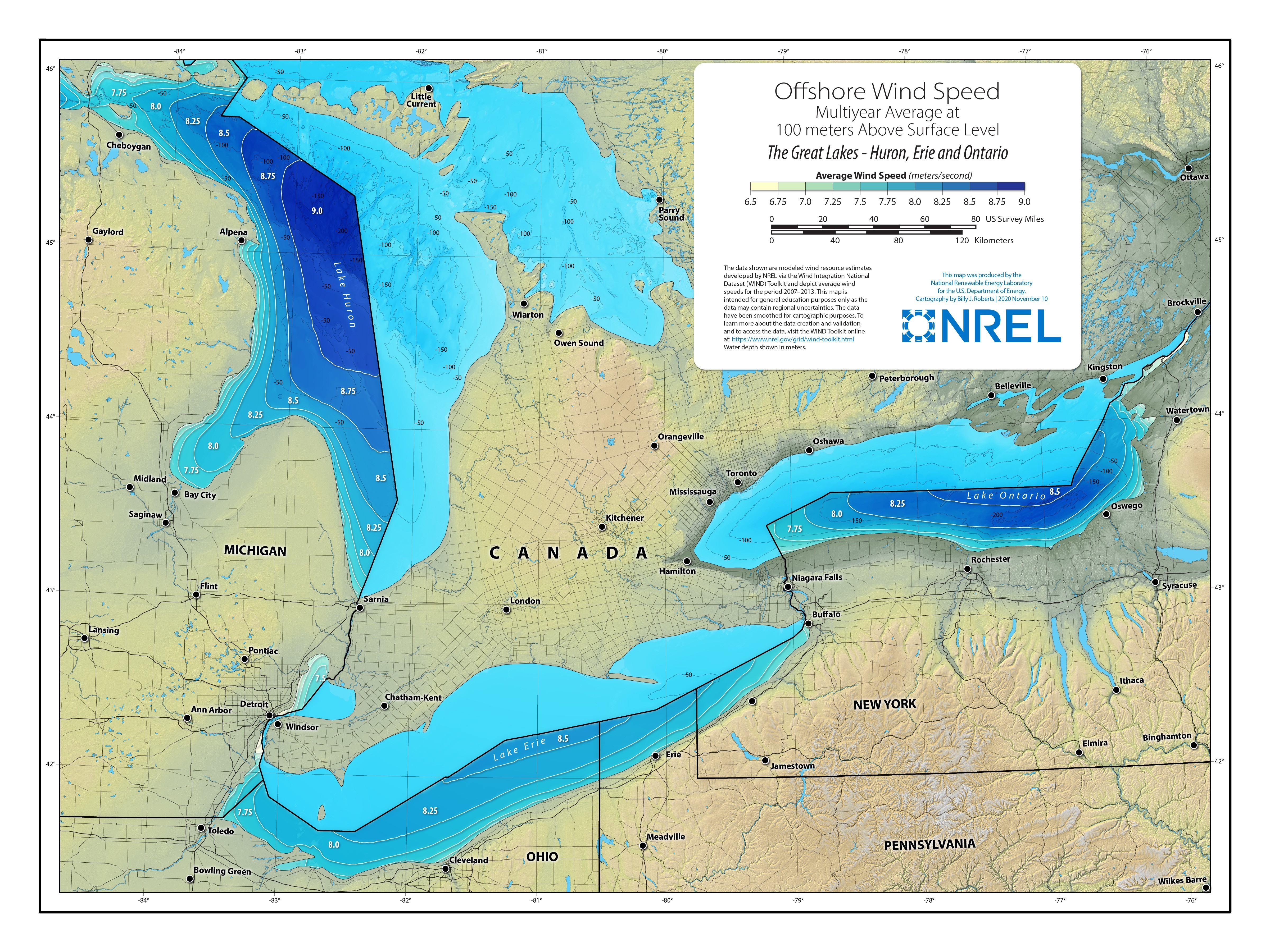 Great Lakes Offshore Wind Speed at 100 Meters | Lakes Huron, Eric, and Ontario