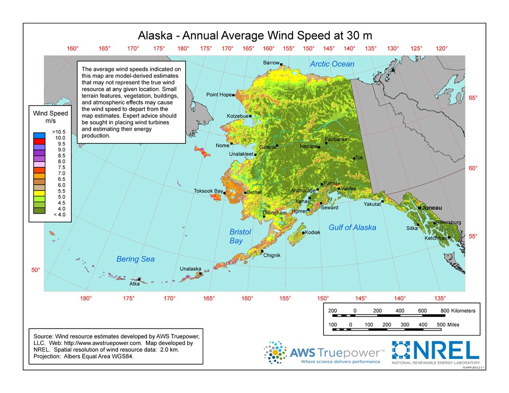 a map of alaska showing wind sds at a 30 m height