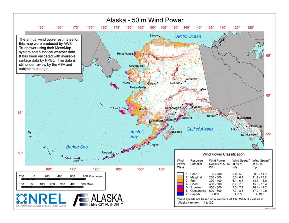 Alaska wind resource map.