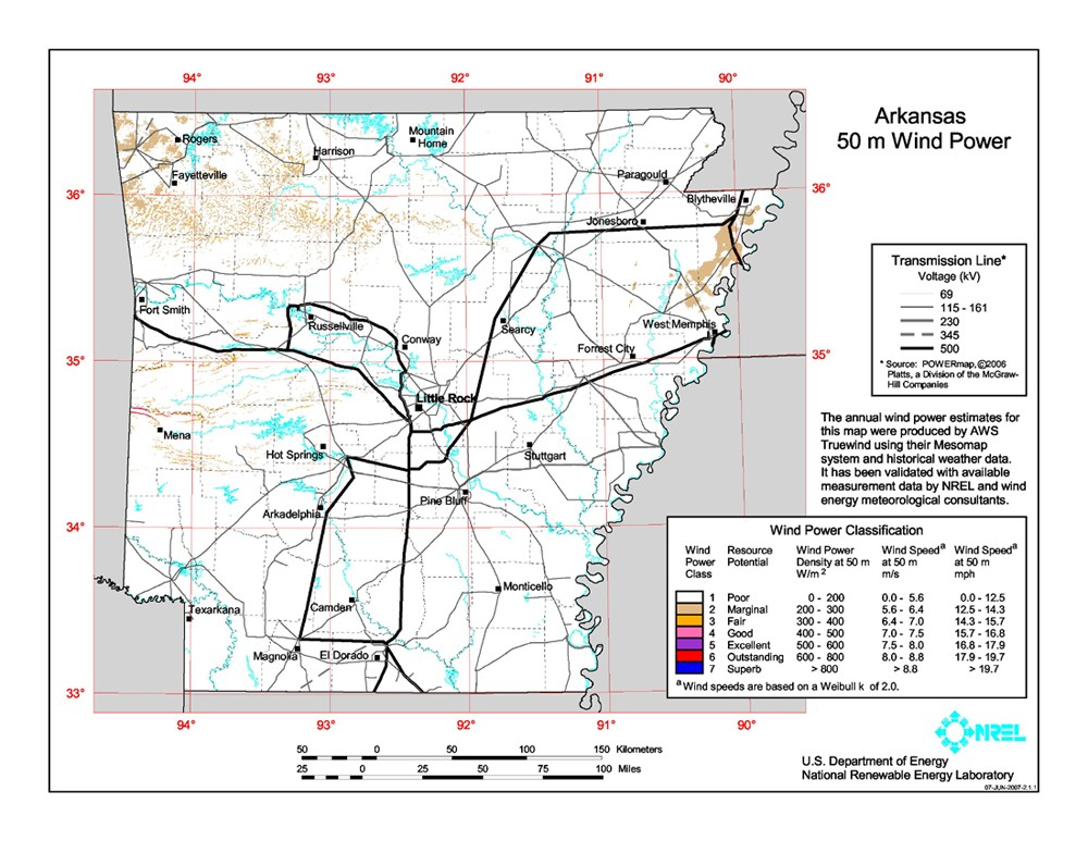 Arkansas wind resource map.
