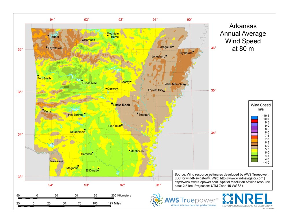 WINDExchange: Arkansas 80-Meter Wind Resource Map