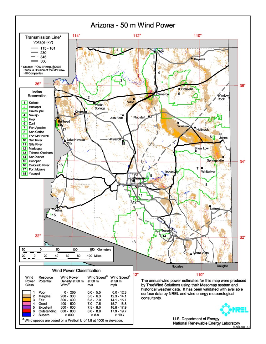 Arizona wind resource map.