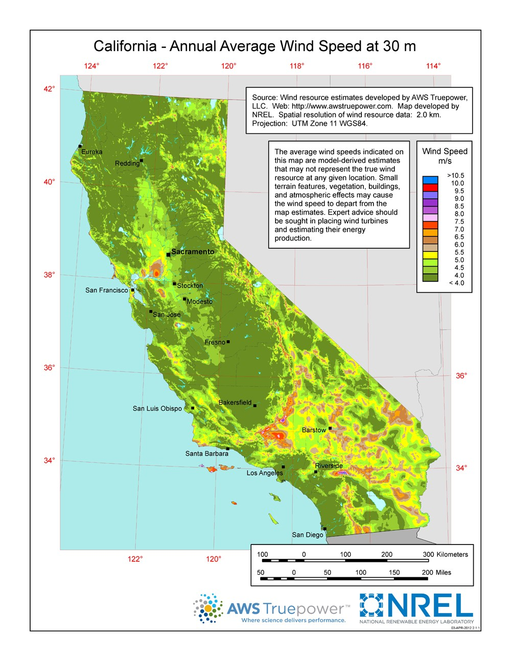 a map of california showing wind sds at a 30 m height