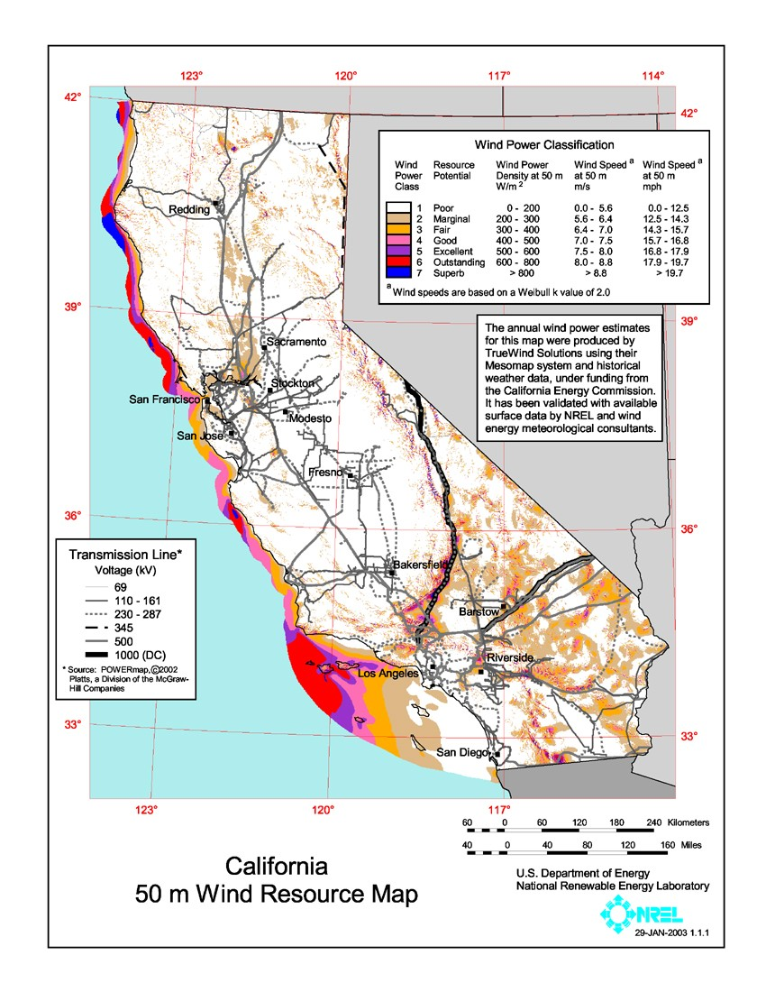 California wind resource map.