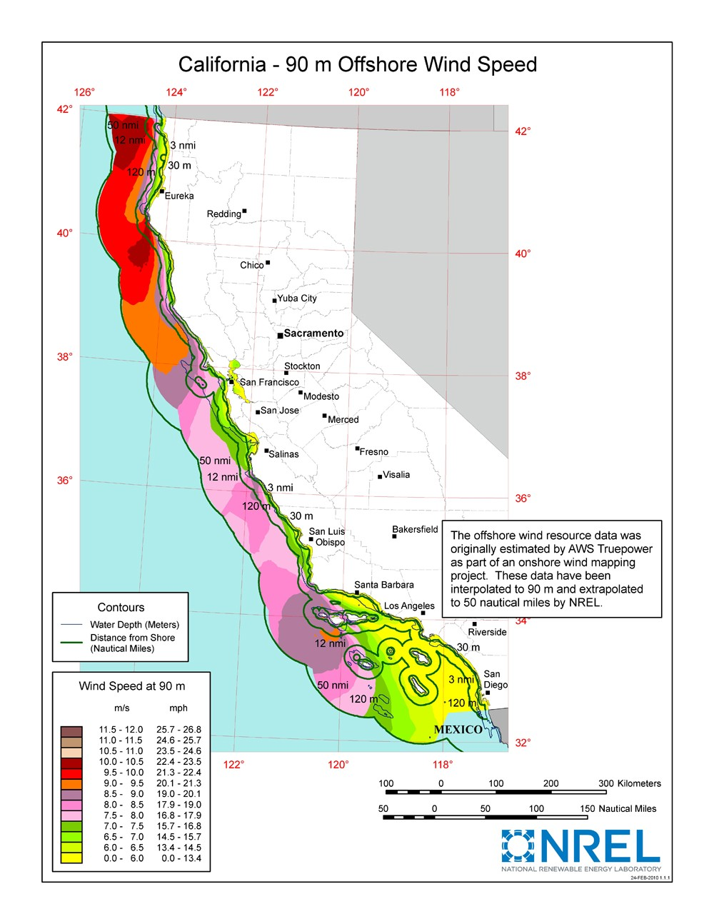 A map of California showing offshore wind speeds.