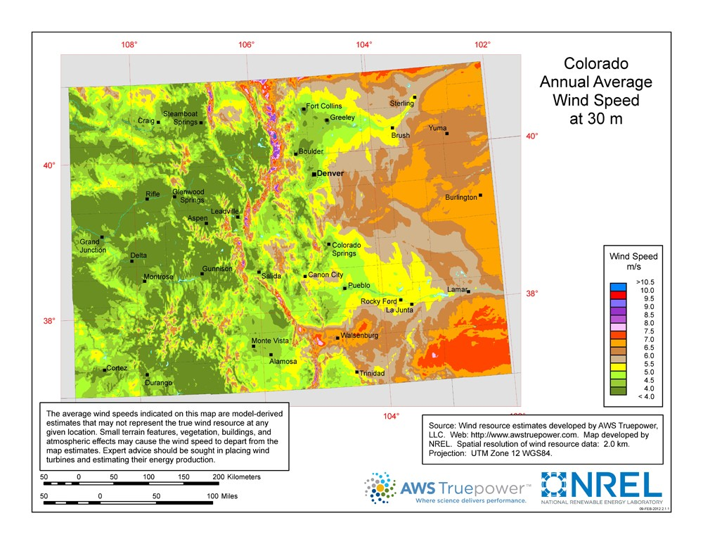A map of Colorado showing wind speeds at a 30-m height.