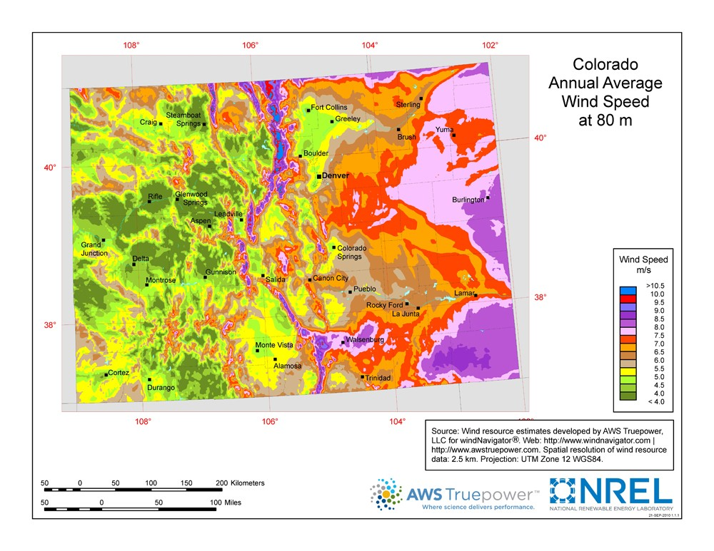 Colorado wind resource map.