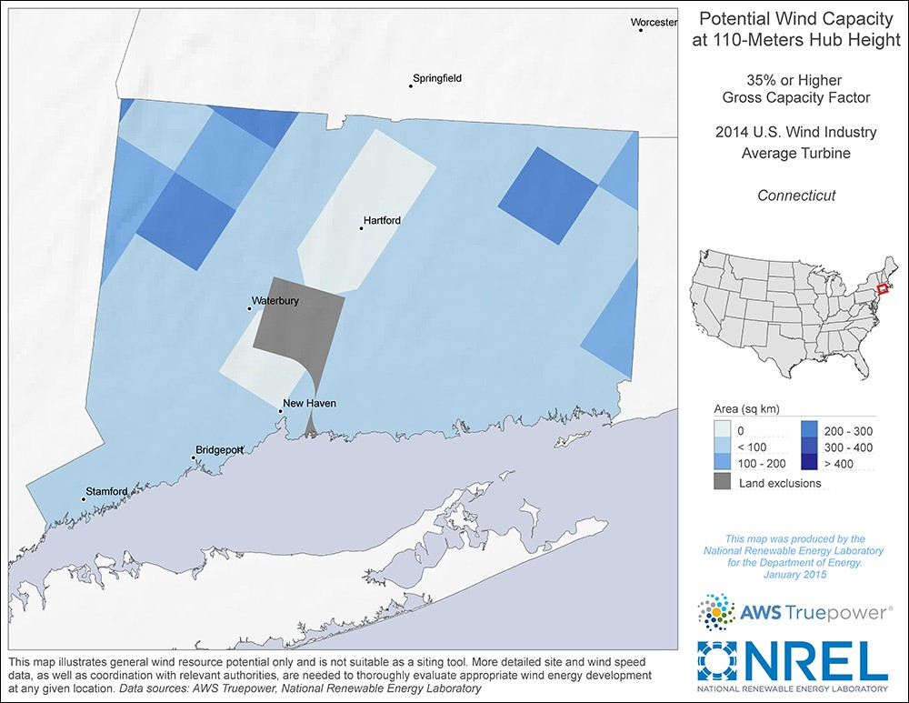 Connecticut 110-Meter Potential Wind Capacity Map