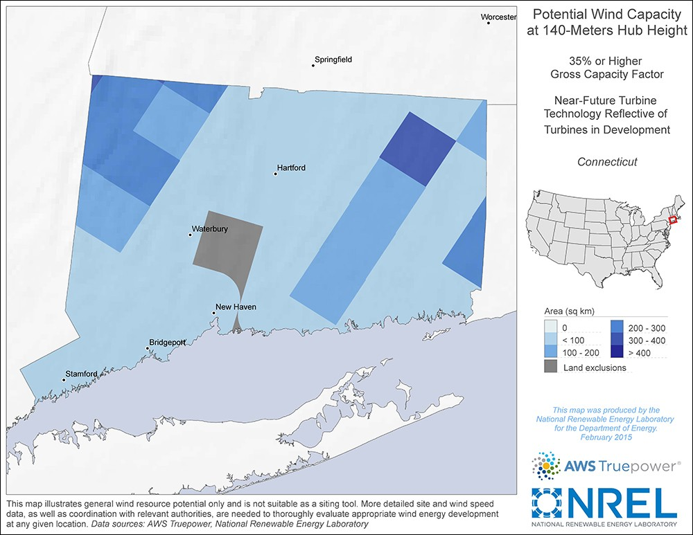 Connecticut 140-Meter Potential Wind Capacity Map