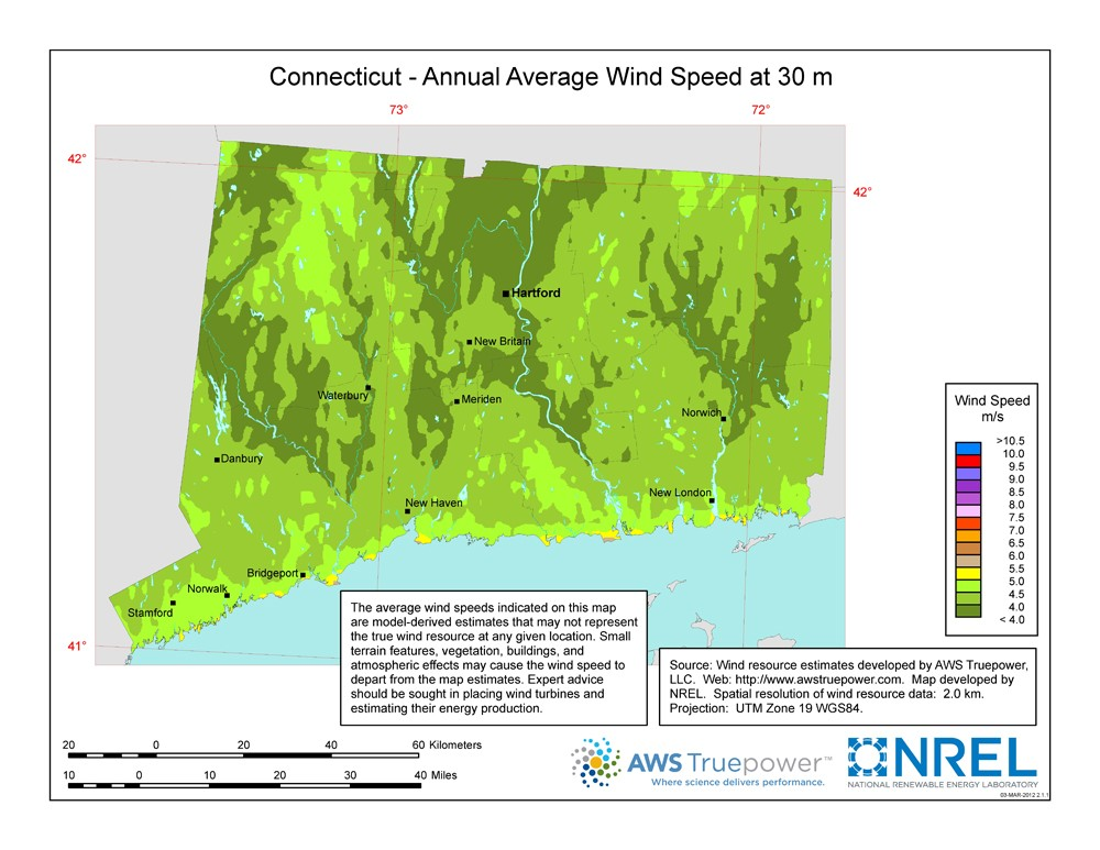 A map of Connecticut showing wind speeds at a 30-m height.