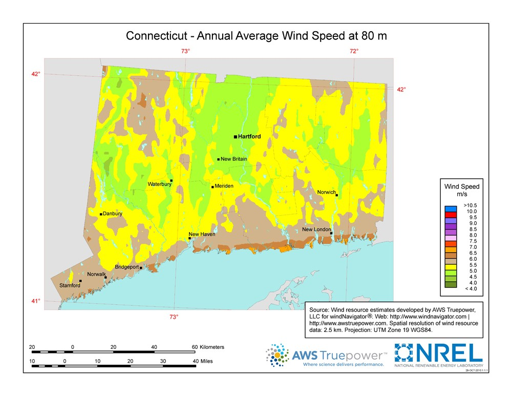 Connecticut wind resource map.