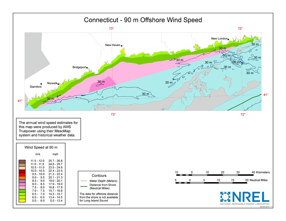 A map of Connecticut showing offshore wind speeds.