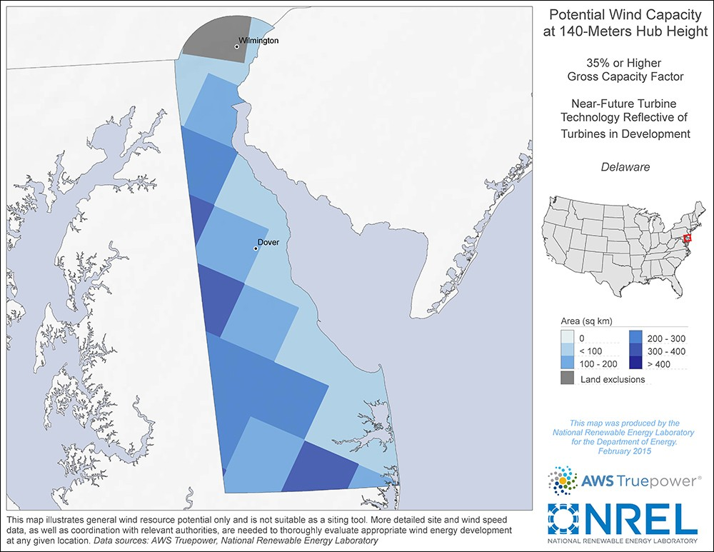 Delaware 140-Meter Potential Wind Capacity Map