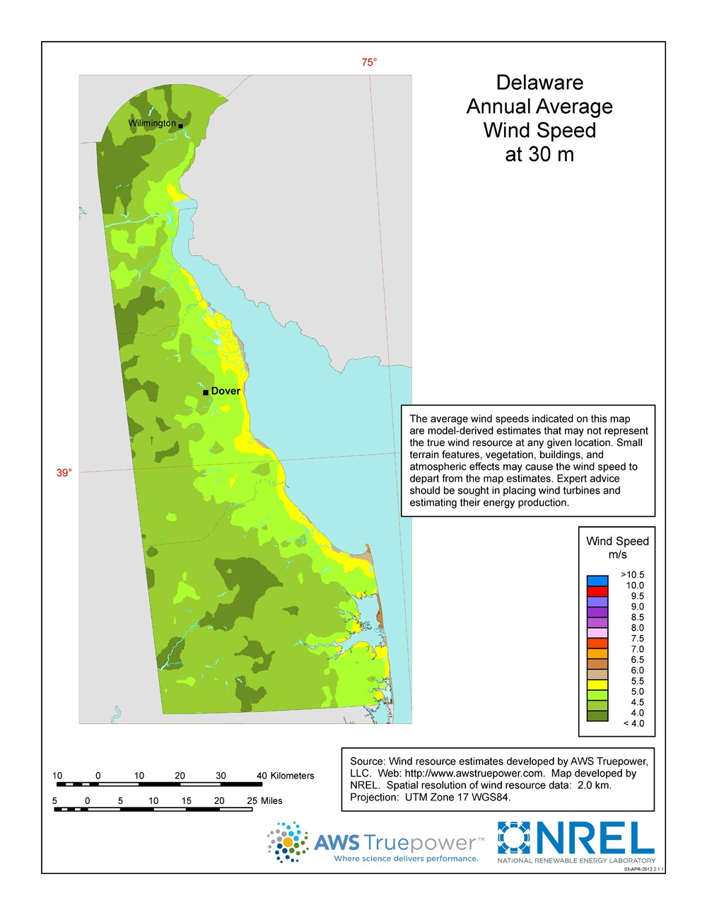 A map of Delaware showing wind speeds at a 30-m height.