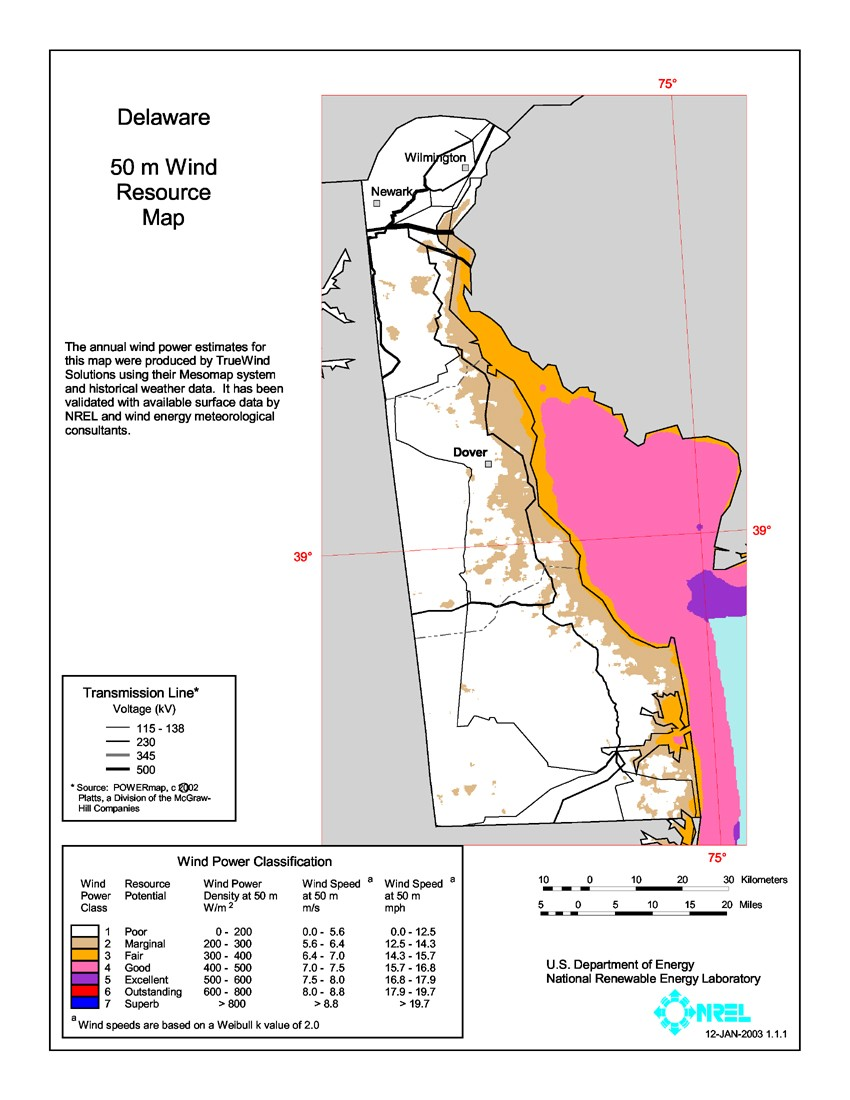 Delaware wind resource map.
