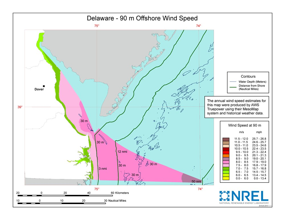 A map of Delaware showing offshore wind speeds.
