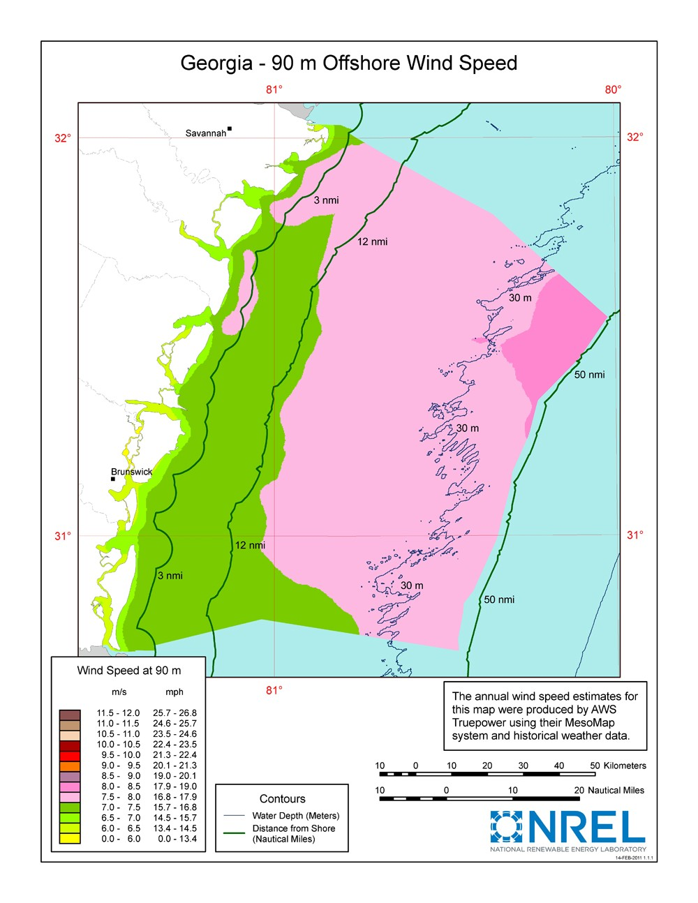 A map of Georgia showing offshore wind speeds.