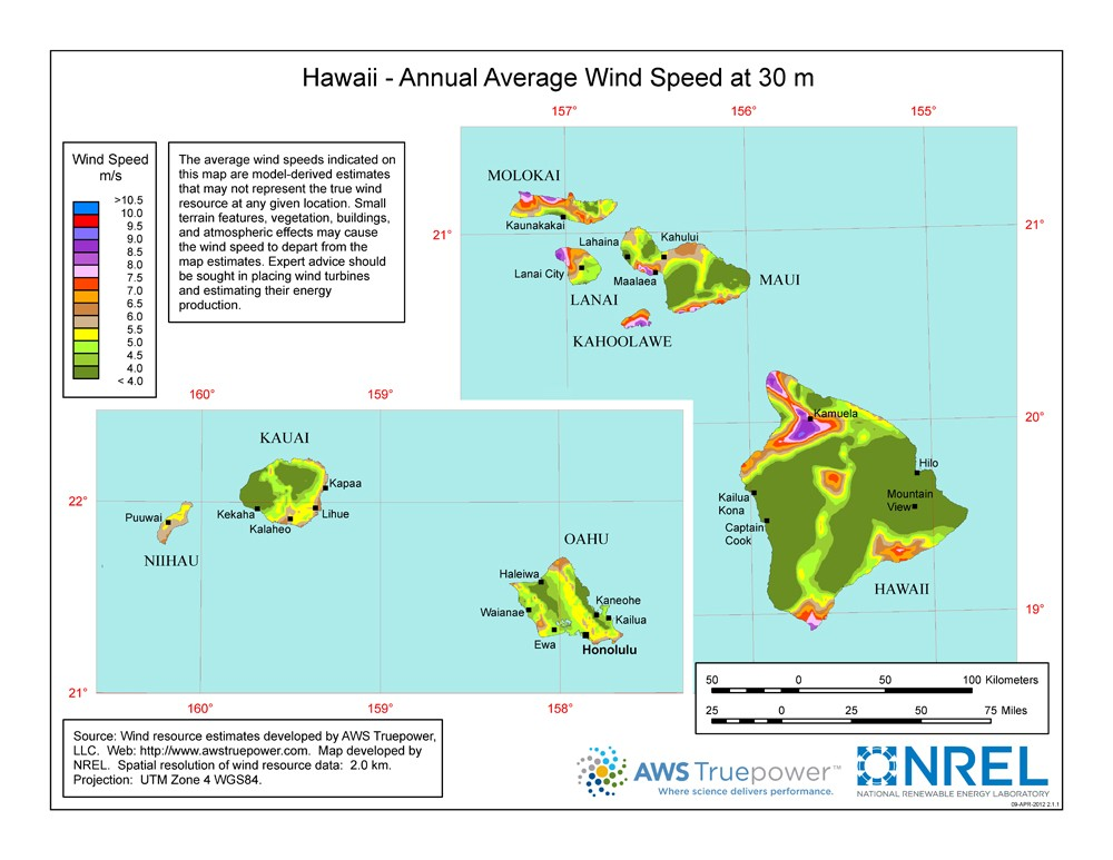 A map of Hawaii showing wind speeds at a 30-m height.