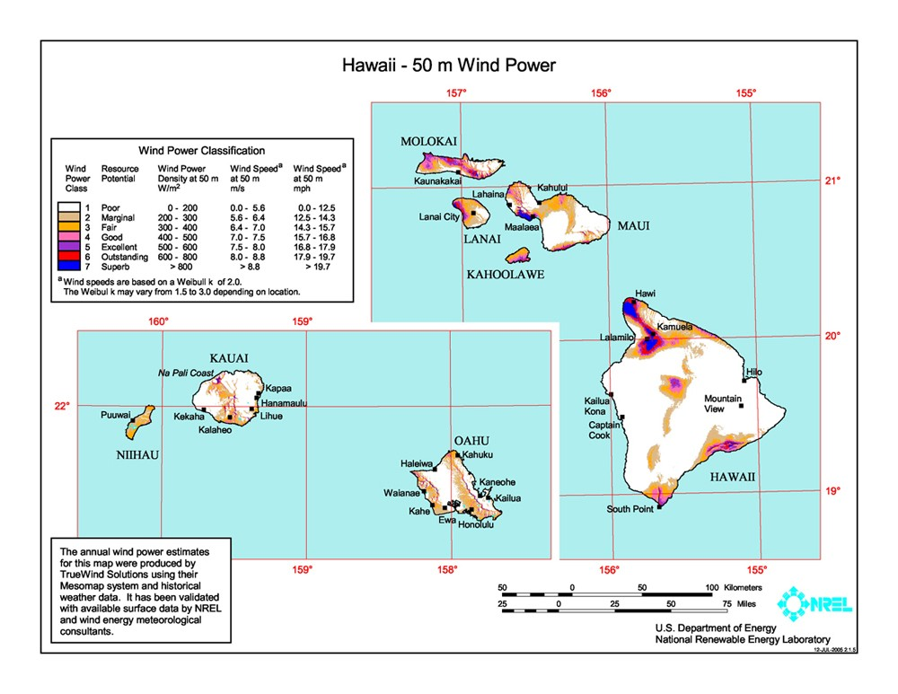 Hawaii wind resource map.
