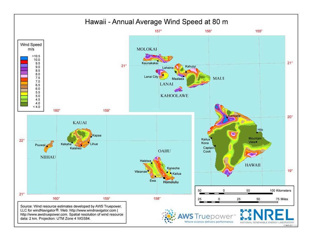 WINDExchange: Hawaii 80-Meter Wind Resource Map